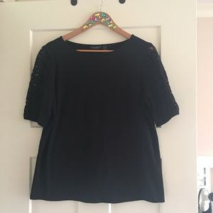 Susan Graver Black Top with Crocheted Sleeves